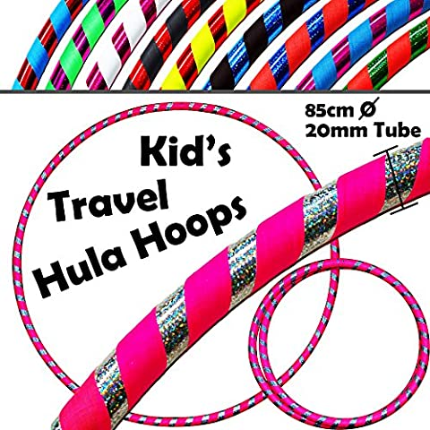 HULA HOOPS pour les ENFANTS - ULTRA-GRIP Pro KIDS TRAVEL Hula Hoops - De Pondérées Enfants Voyage Pliable Hula Hoop. Super Pour L'exercice, Danse, Fitness & Fun! (Diam:85cm, Lesté:400g) (Flo.Rose / Argent, 85cm)