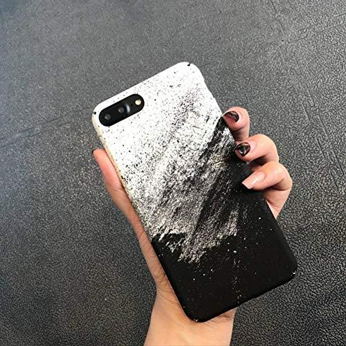 XUWLM Telefon-Kasten PC Hülle Für iPhone X 8 7 6 6S Plus National Wind Handy Capa Wasser Aufkleber Steinsand Öl Schwarz Weiß Sand Malerei Matt -