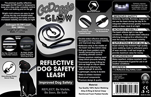 GoDoggie-Reflective-Dog-Lead-Improved-Dog-Visibility-Safety-Reflective-Stitching-Strips-Foam-Padded-Comfy-Handle-D-Ring-Premium-Quality-Components-Lifetime-Guarantee-BLACK-SMALL