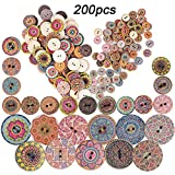 200 Stk. Bunte knöpfe zum basteln Set Holzknöpfe Vintage Rund Knopf Selberaufnähen Nähen Knöpfe 2 Löcher (Durchmesser 15mm&25mm)