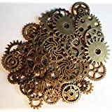 Lot de 50 charms Style gothique Motif engrenages Steampunk En couleur bronze