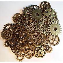 50x Steampunk Zahnräder Bunt Gothic Charms Bronze aus Metall