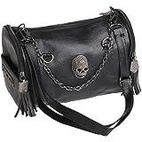BouT Damen Punk Rock Handtasche/Umhängetasche aus PU-Leder mit Totenkopf-Nieten und Quasten