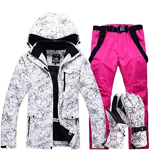 FuweiEncore Hombres, Damas, Parejas Chaquetas de esquí Impresas a Prueba de Viento, a Prueba de Viento Pantalones de esquí Conjunto Chaqueta de Snow Coat (Color : Rosa roja, tamaño : XL)