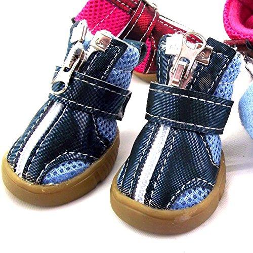 XiYunHan Pet Sneakers, Breathable Mesh Anti-Rutsch-Stiefel Metall Reißverschluss Klettverschleißfeste Oxford Schuhe 4 Stück Sport Dog Boots 2 Farbe & 5 Größe (Color : Blue, Size : 4#)