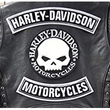 GZM Skull Willie G.Harley Davidson - Parches para chaleco o chaqueta, tamaño grande (3 unidades)