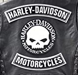 Skull Willie G. Harley Davidson - Biker Rockabilly Motorrad Club Aufnäher Patch Sticker Motorcycle Aufnäher Bügelbild Aufbügler Applikation Applique Bügelbilder Flicken Embroidered Iron on Patches für Weste oder Jacke, groß (3 Stück) Ride Motorcycle Motorblock Totenkopf