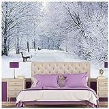 azutura Árboles nevados Fotomurales Paisaje de Invierno Blanco Papel Pintado Dormitorio Decoración Disponible en 8 Tamaños Extra pequeño Digital