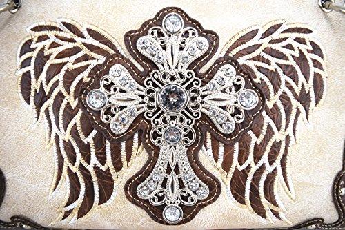 Blancho Biancheria da letto delle donne in pelle [Antico Castello] PU borsa elegante di modo Borsa Avorio Handbag-Avorio