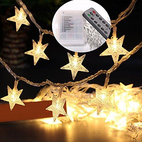 Guirlande Lumineuse à LED, Skitic Étoiles de Lumières 5M 40 Leds Batterie Exploité Fairy Lights pour Jardin Intérieur, Extérieur, Arbre de Noël, Fête, Décoration de Mariage - Étoiles (Blanc Chaud)