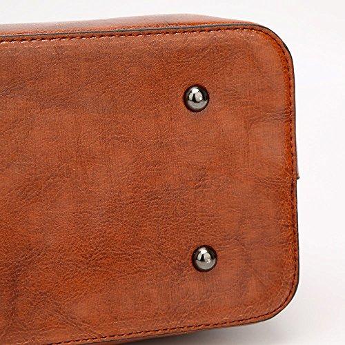 MeiliYH neue Damen PU Leder Fashion Handtaschen Einfache Boutique hohe Kapazität Messenger Schultertaschen für Damen weinrot