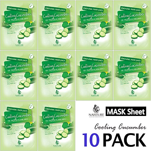 8791407e8d2b Collagen Facial Sheet Mask Pack (10 Sheets) Face Treatment [NAISTURE]  Essence Face Masks - 15 Minute Application For Moisturizing Revitalizing ...