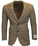 Walker & Hawkes - Herren Country-Blazer - Klassisch Schottische Jacke aus Harris-Tweed - Overcheck-Tartanmuster - Sandbraun - L