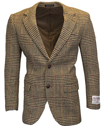 Walker & Hawkes - Herren Country-Blazer - Klassisch Schottische Jacke aus Harris-Tweed - Overcheck-Tartanmuster - Sandbraun - XL (Sakko Harris Tweed)