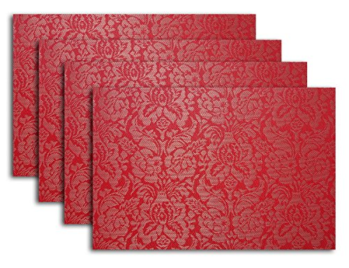 Secret Life (TM) Set di 4/6 farfalla stile vinile Tovaglietta in tavola Set Demask Rose Red