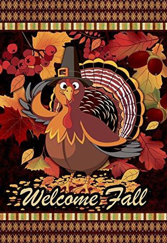 JOYPLUS Welcome & Geben durch Türkei Fall Thanksgiving Garten Flagge-Vertikal Doppelseitig Herbst Deko Rustikal/Farm House Klein Decor Flaggen Set für Indoor & Outdoor Dekoration, 30,5x 45,7cm