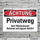 Schild Achtung Privatweg Kein Winterdienst Hinweisschild 3 mm Alu-Verbund 300 x 200 mm