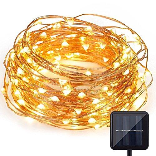 Lumières LED solaire de chaîne en cuivre, grand tableau de charge, la batterie au lithium, 100 perles de lampe, 39 pouces, 8 modes de fonctionnement, imperméable à l'eau, blanc chaud, convenable à l'intérieur et l'extérieur pour la fête de Noël, la réunion familiale et le mariage.