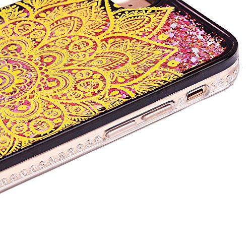 """iPhone 6sPlus Handyhülle, iPhone 6Plus TPU Softcase, CLTPY Kreativ 3D Dynamisch Treibsand Glanz Fließen Flüssig Schwimmend Herz Stern Shale Etui, Schwarz Stoßfest Silikon Rückseite Hülle für 5.5"""" Appl Gold Chrysantheme"""