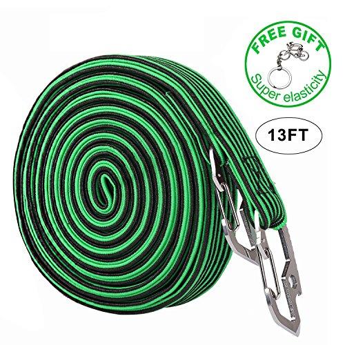 Elastischer Spanngurt, 2und 4Meter lange, verstellbare Gepäck-Gürtel mit Karbonstahl-Haken, für Outdoor-Aktivitäten und zum Befestigen von Gepäck und Rucksäcken, 4Farben, Herren, 4M-Green