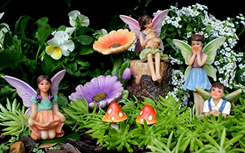 PRETMANNS Fairy Garden Accessories - Miniature Fairy Ornaments - Flower Stump & Mushrooms - 7 Pieces