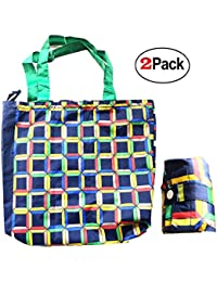 Printed Shopping Bag Reusable Grocery Bag, Foldable Polyester Long Handles Washable - Assorted Color And Print...