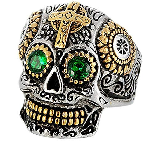 DIBMXC Kreatives Schädel Kopf Kreuz tibetischen Skulptur Green Stone Solide Edelstahl Ringe für Herren