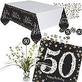 Nouveau: 46Pièces Kit de Décoration de Table * Sparkling Celebration * pour Le 50e Anniversaire | avec Center Piece + Nappe + Confettis + Serviettes | Décoration de Fête Fünfzig
