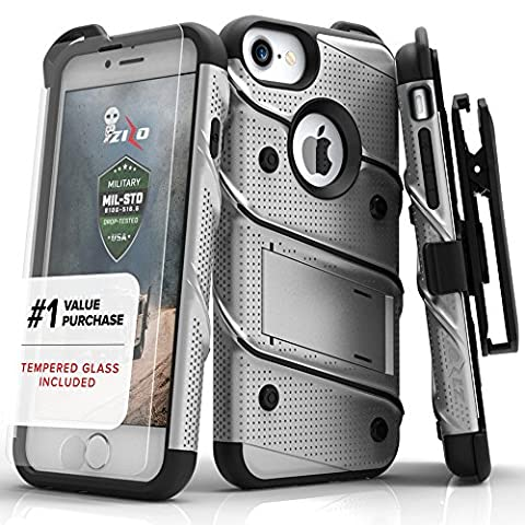 iPhone 7Case, Zizo [Bolt Series] with free [iPhone 7Screen Protector] Kickstand [Military Grade Drop Tested] Holster Belt Clip–iPhone 7