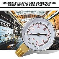 Práctico Piscina SPA Filtro Medidor de presión de Agua Mini 0-60 PSI 0-4 Bar Montaje Lateral Rosca de tubería de 1+4 Pulgadas NPT TS-50 + Negro