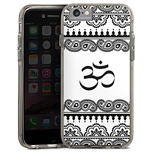 Apple iPhone 7 Plus Bumper Hülle Bumper Case Glitzer Hülle Mandala Henna Yoga Bumper Case transparent grau