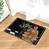 gohebe Zen Bamboo Trees Decor Yoga Buddha mit Lotus in Wasser Bad Teppiche rutschhemmend Fußmatte Boden Eingänge Innen vorne Fußmatte Kinder Badematte 39,9x 59,9cm Badezimmer Zubehör