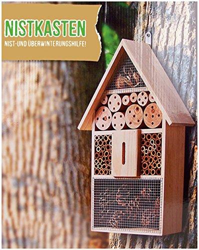 Galleria fotografica Vetrineinrete® Casetta hotel per insetti e volatili nido in legno per uccelli api farfalle 31x10x48 cm per la nidificazione e lo svernamento B19