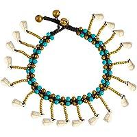 Todop - Cavigliera da donna, alla moda, con campanelle e pendenti turchese, per donne