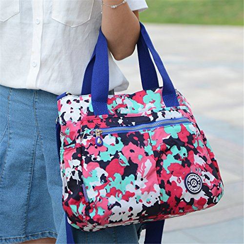 Tiny Chou wasserabweisend Nylon Handtasche Crossbody Messenger Bag mit abnehmbarer Schultergurt Purplish Red