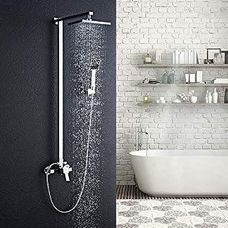 "61N9LLU12tL. SS324  - Auralum Columna ducha, 8"" Conjunto de ducha barra con ducha mango + alcachofa ducha lluvia cuadrada + perillas mezclador para ducha de baño en latón"