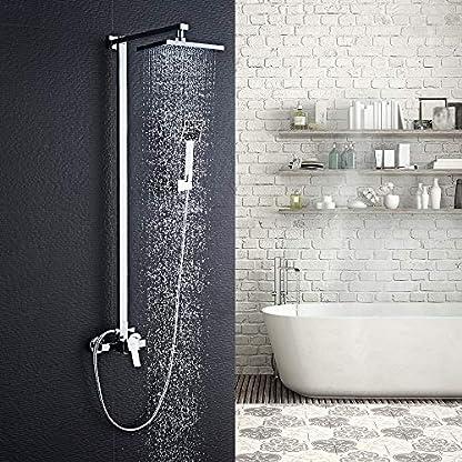 "61N9LLU12tL. SS416  - Auralum Columna ducha, 8"" Conjunto de ducha barra con ducha mango + alcachofa ducha lluvia cuadrada + perillas mezclador para ducha de baño en latón"