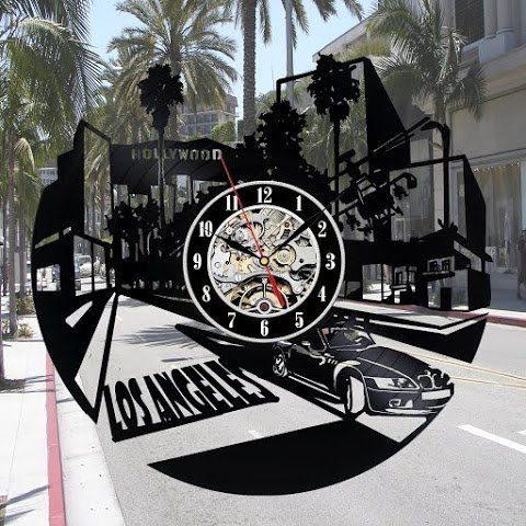 Los Angeles Horloge murale Fan Décor Chambre Idée Cadeau Art Home Party
