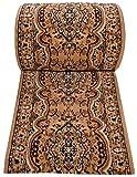 Tapiso Atlas Läufer Flur Kurzflor Teppich Küche Wohnzimmer Klassisch Blumen Floral Streifen Muster Traditionell Beige Braun ÖKOTEX 90 x 310 cm