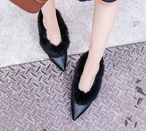 MissSaSa Donna Scarpe col Tacco Gattino Elegante e Moda Nero