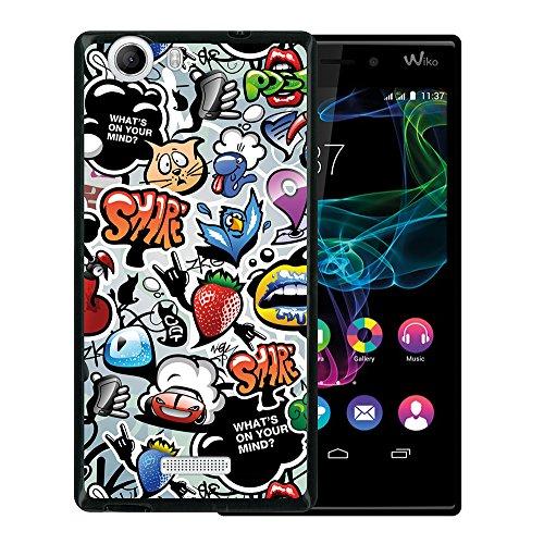 Wiko Ridge 4G Hülle, WoowCase Handyhülle Silikon für [ Wiko Ridge 4G ] Coloriertes Graffiti Handytasche Handy Cover Case Schutzhülle Flexible TPU - Schwarz