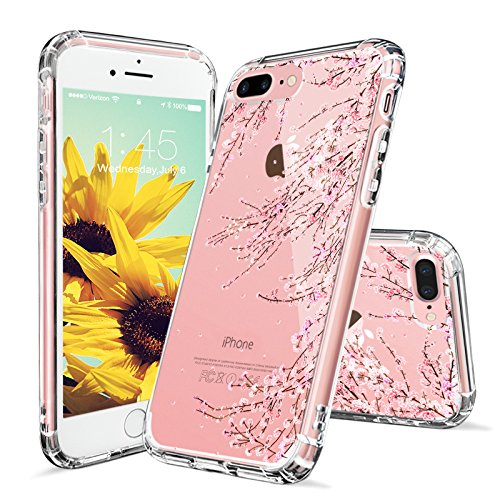 iPhone 8 Plus Hülle, iPhone 7 Plus Hülle, MOSNOVO Tropisch Kaktus Muster TPU Bumper mit Hart Plastik Hülle Durchsichtig Schutzhülle Transparent für iPhone 7 Plus / iPhone 8 Plus (Kaktus) Cherry Blossoms