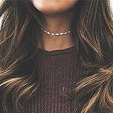 reixus (TM) Einfache Fashion Zarte Frauen glänzend Rhinestone Choker Ketten Dainty Gold Kristall Zirkon Perlen Kette Choker Schmuck Halskette, silber