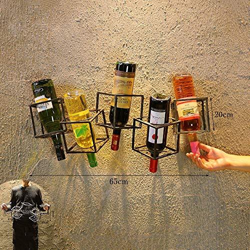 JZSGY Vintage Wand-Weinregal/Sims, bietet Platz for 5 Flaschen Schmiedeeisen Dekorative Flaschenregal, kreativ Home Bar Restaurant Wandoberflächendekoration (Farbe : C) -
