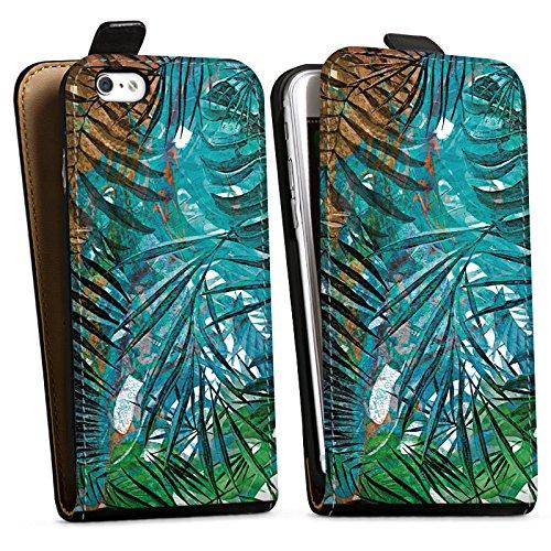 Apple iPhone X Silikon Hülle Case Schutzhülle Palmenblätter Dschungel Palme Downflip Tasche schwarz