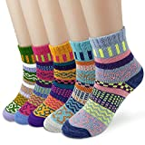Dokpav 5 Paare set, Wollesocken, Damen Socken Winter Dick Wollsocken Bunt warm gestrickte atmungsaktiv weich Damensocken Thermosocken Bunte Gemusterte Stricksocken