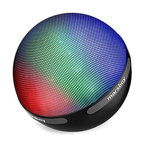 Marsboy Farbe LED Design Bluetooth 4.1 Lautsprecher tragbar drahtlos mit TWS Funktion 7 Farbwechsel LED & 12-15 Stunden Wiedergabedauer für Handy, Laptop, PDA (Schwarz) Sd-karte, Die Ipad-anschluss