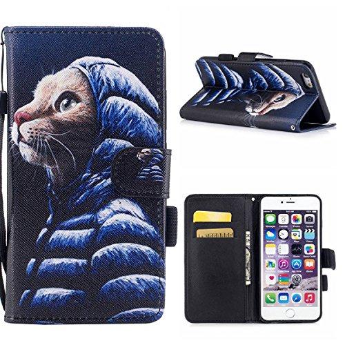 """MOONCASE iPhone 6 Plus/iPhone 6s Plus Coque, [Colorful Pattern] Wristbands avec Support Protection Étuis Case Card Holder Flip Cuir Housse pour iPhone 6s Plus 5.5"""" Wind Chimes Down Jacket"""