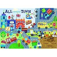 Happy Spaces Jill McDonald All Around Town - Cuadro decorativo para habitación infantil (70 x 50 x 2 cm), diseño de la ciudad