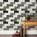 Kamaca Material: PVC, Schwarz, Holz, für Ziegel Tapete Küche Badezimmer, wasserdicht, mit 20,8x Adidas